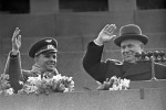Gagrin and Khrushchev at the podium of Lenin's mausoleum at Red Square during ceremonial welcome meeting. April 14, 1961