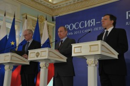 Herman Van Rompuy, President of the European Council, Vladimir Putin, President of the Russian Federation, and Jose Manuel Barroso, President of the European Commission. Press-conference following the Russia-EU summit held on 3-4 June 2012 in St. Petersburg, Russia